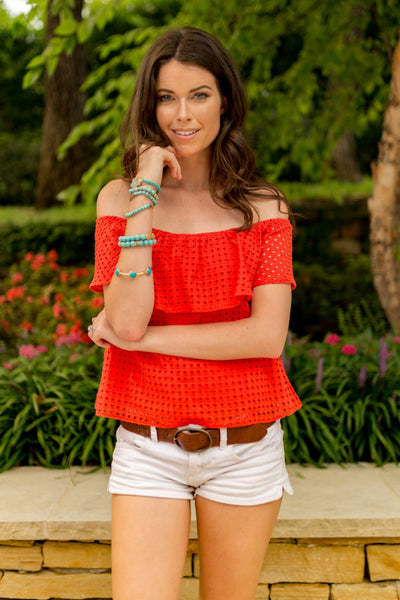 Cherry Red Off the Shoulder Cotton Eyelet Top | Sadie Coleman