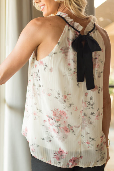 Cream and Light Pink Floral Halter Top with Black Bow in Back | Sadie Coleman