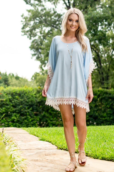 Powder Blue Lace Trimmed Tunic Dress - Sadie Coleman