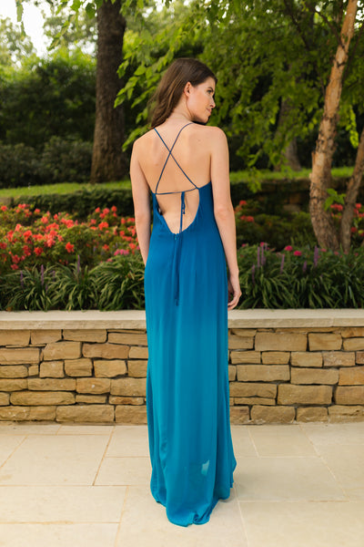 Charlie Jade Blue/Teal Ombré Maxi Dress with High-Low Hem - Sadie Coleman