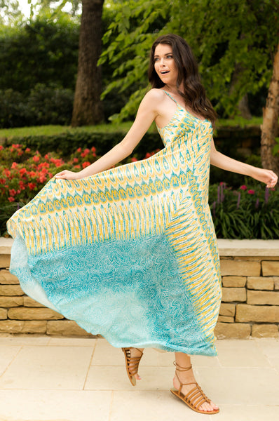 Charlie Jade Lemon and Teal Print Silk Maxi Dress - Sadie Coleman