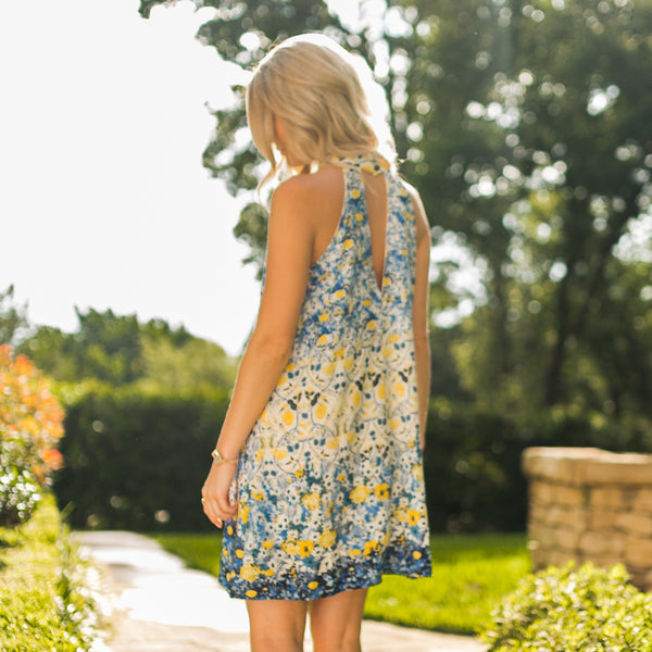 Blue and Yellow Floral Halter A-Line Dress - Sadie Coleman