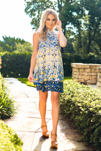 Blue and Yellow Floral Halter A-Line Dress | Sadie Coleman