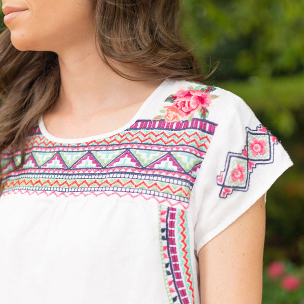 JWLA Embroidered Linen Tunic Dress - Sadie Coleman