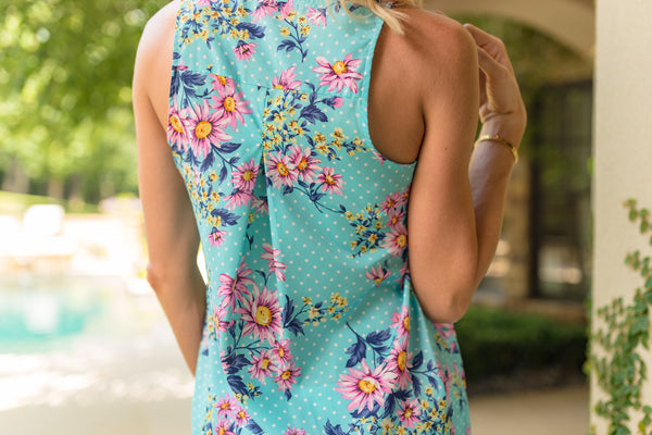 High-Low Baby Blue Floral Polka Dot Tank - Sadie Coleman