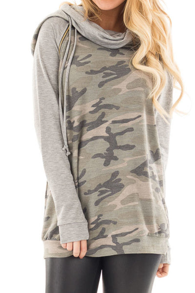 Camo Cowl Neck Hoodie with Gold Zipper Detail | Sadie Coleman