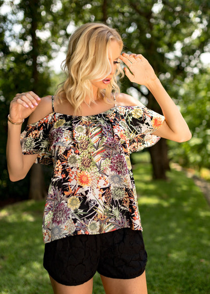 Black Tropical Floral Cold Shoulder Ruffle Top - Sadie Coleman
