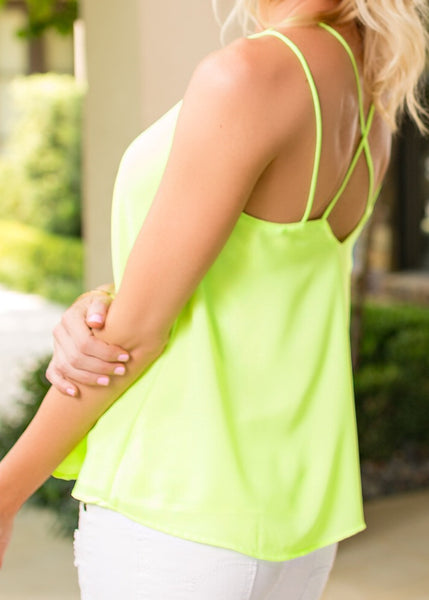Neon Lime Top with Strappy Back - Sadie Coleman