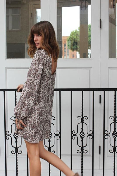 Long Sleeve Paisley Dress with Ivory Crochet Detail - Sadie Coleman