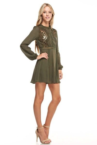 Olive Long Sleeve Dress with Crochet Detail | Sadie Coleman