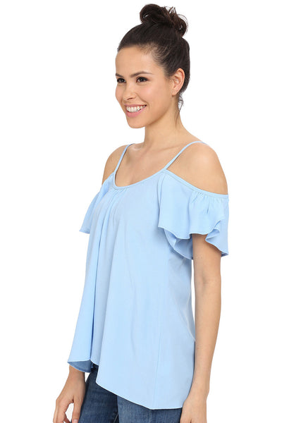 Baby Blue Cold Shoulder Ruffle Top - Sadie Coleman