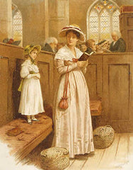 Mother and daughter in church