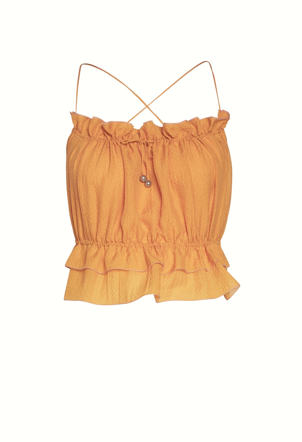 APRICOT SILK CROP TOP