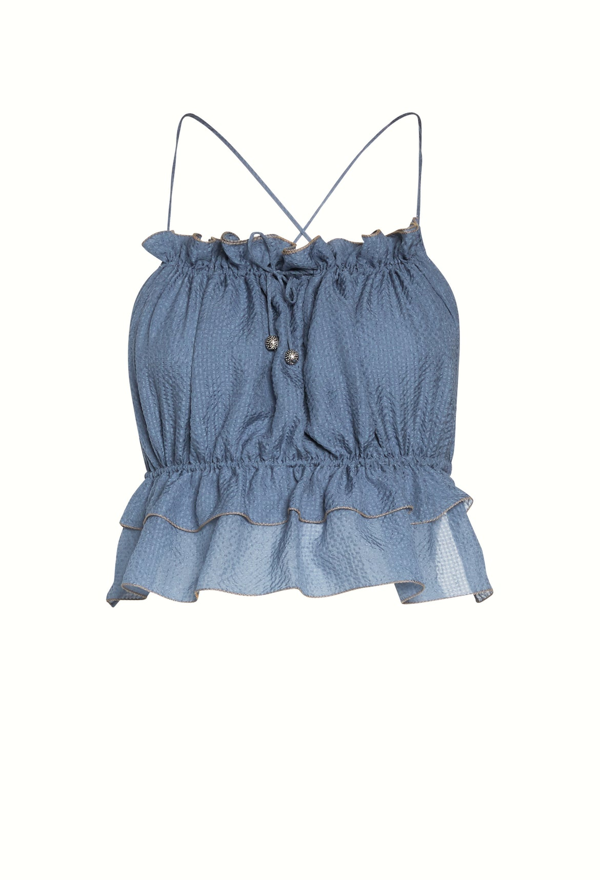 Blue Silk Crop Top