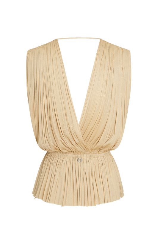 Load image into Gallery viewer, Beige Silk Tulle Top