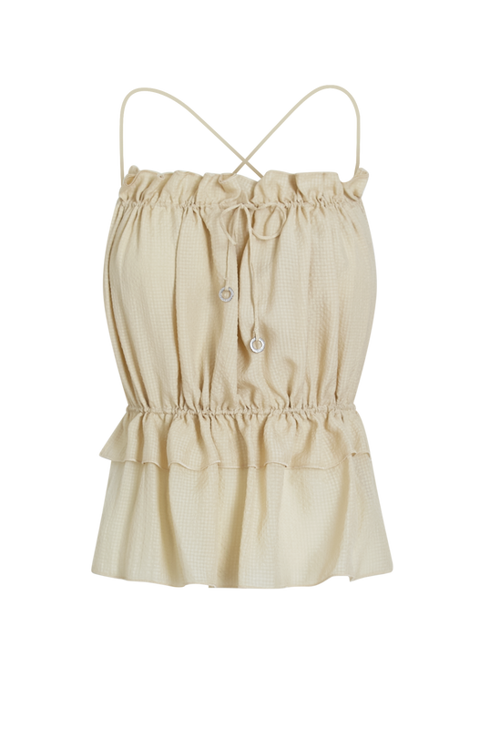 Load image into Gallery viewer, Beige String Silk Top