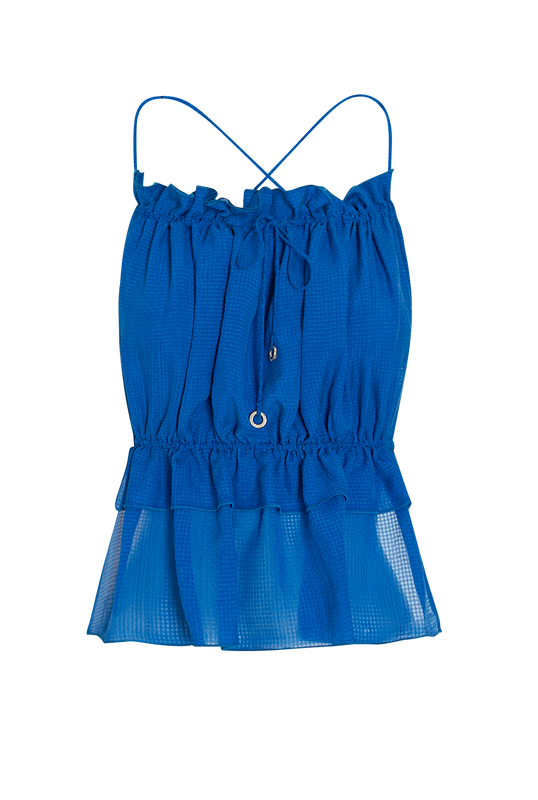 Load image into Gallery viewer, Cobalt String Silk Top