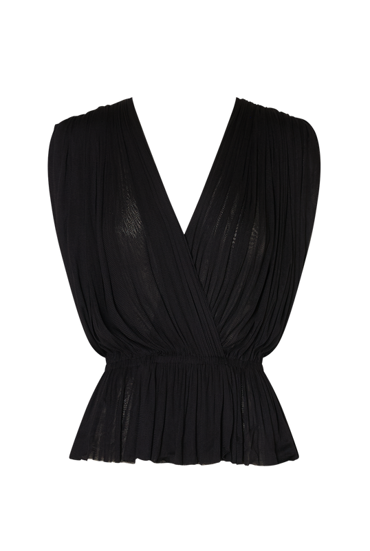 Load image into Gallery viewer, Black Silk Tulle Top