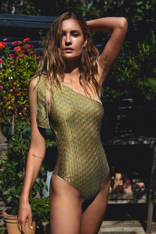 Load image into Gallery viewer, Zig Zag One-Shoulder Swimsuit