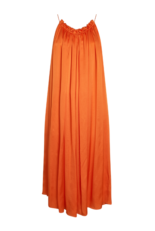 Load image into Gallery viewer, Orange Satin Dress