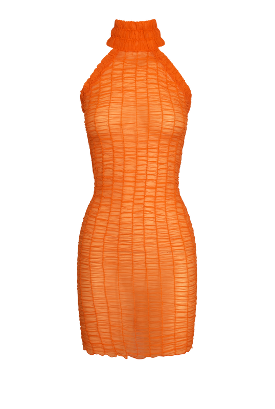 Load image into Gallery viewer, Orange Smock Halter Dress