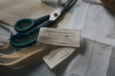 Linen fabric labels for Aerende linen pouch