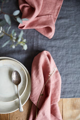 dusky blush linen napkins, handmade in the UK