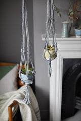 Natural jute macrame plant hangers, made in London