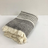 cream and grey striped natural wool blanket