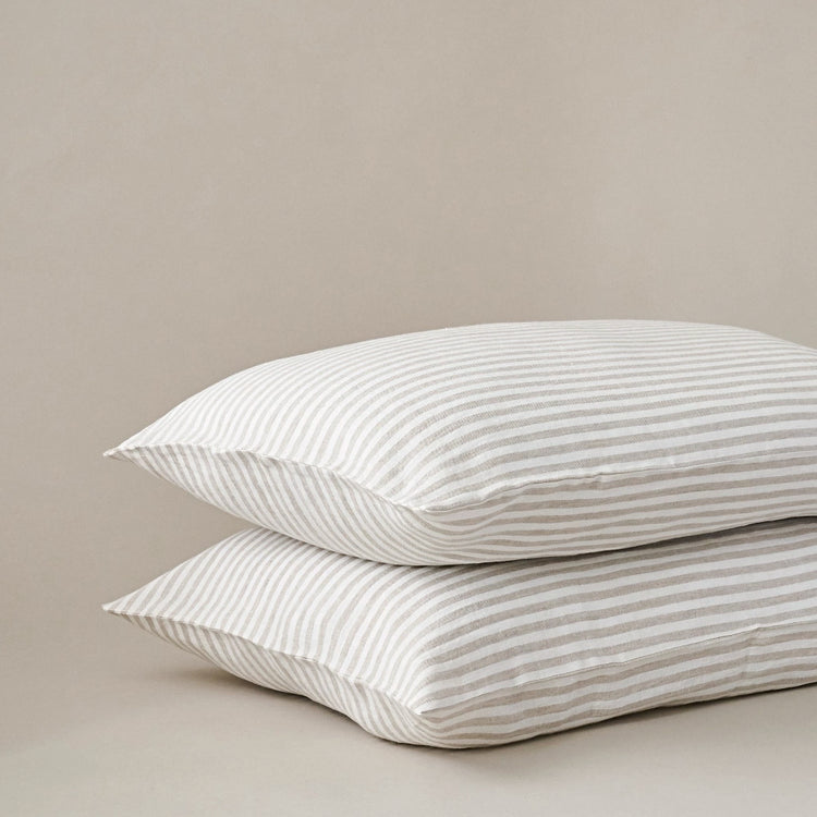 Beige and White Stripe Linen Pillow Cases