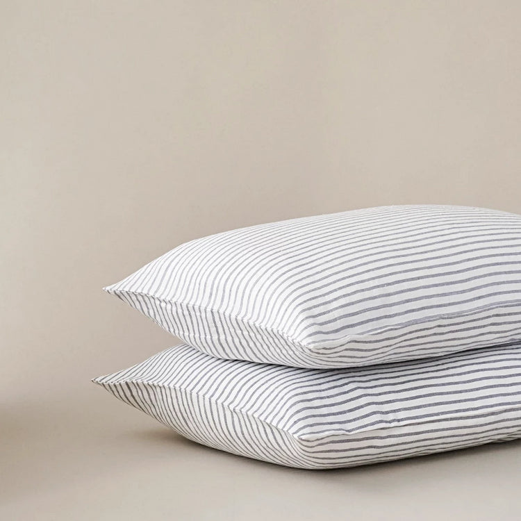 Grey and White Stripe Linen Pillow Cases, Made In The UK