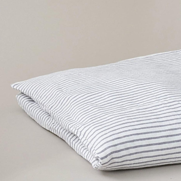 Grey and White Stripe Linen Duvet Cover, Ethically Made