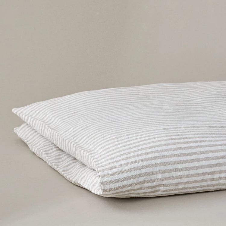 Beige and White Stripe Linen Duvet Cover