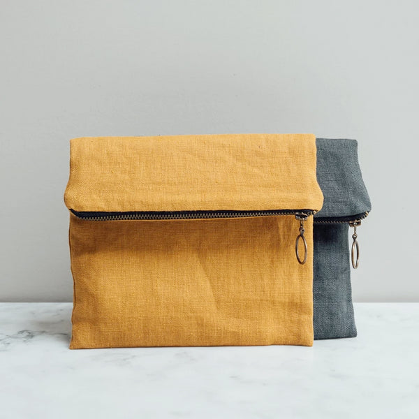 Linen pouch bag handmade in the UK