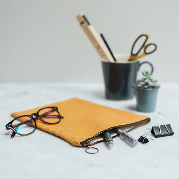 stylish mustard linen pencil case