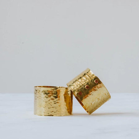 Hand-hammered brass napkin ring pair, handmade in the UK