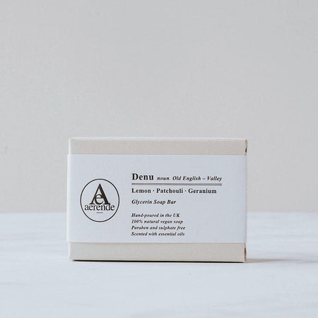 Soap in pale grey textured box with white bellyband