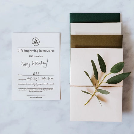 Aerende Letterpressed Gift Voucher With Glue Free Envelopes in Four Colours