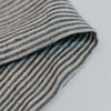 Black and Grey Stripe Linen Tea Towel Close Up