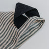 Black cotton hanging tab on linen tea towel