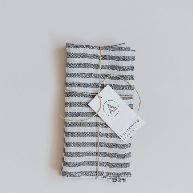 Black and White Linen Stripe Napkin