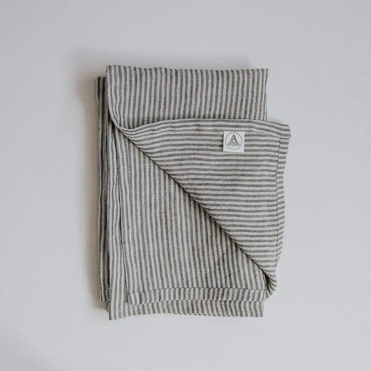 Grey and black striped linen tea towel, hand made in the UK