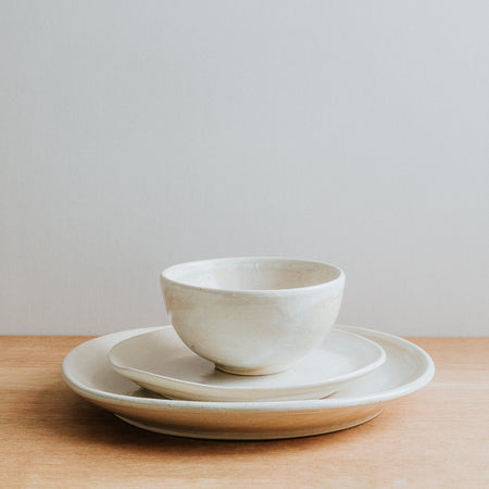 Natural glaze stoneware dinner set, handmade in the UK
