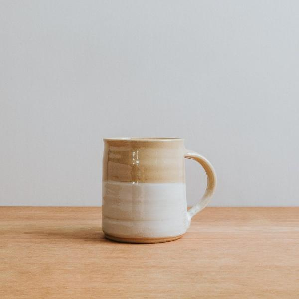 Handmade stoneware mug with white stripe