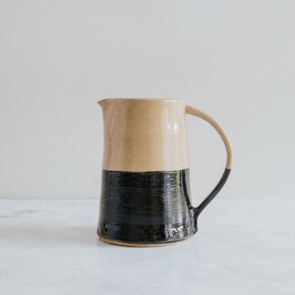 Half Black Jug, Handmade In The UK