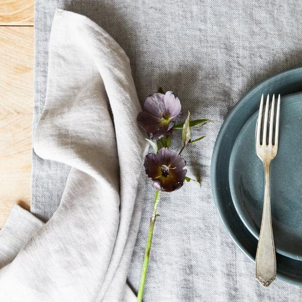 Grey Stoneware Plates and handmade Table Linen