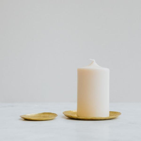 Hand hammered Brass Dish Used as Candle Holder
