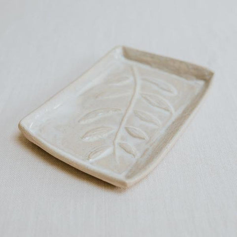 Ceramic Soap Dish, Leaf Print