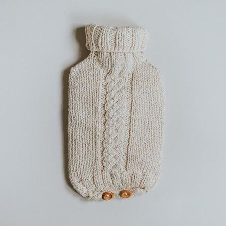 Handknitted cotton Cableknit Hot Water Bottle Cover