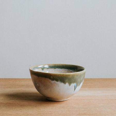 Small Stoneware Bowl with Olive Rim, Handmade,